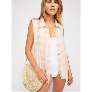 FREE PEOPLE Hey There Sunrise Button Down Top
